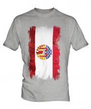 French Polynesia Grunge Flag Mens T-Shirt