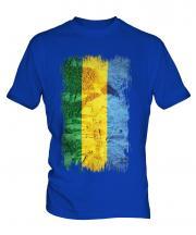 Gabon Grunge Flag Mens T-Shirt
