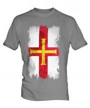 Guernsey Grunge Flag Mens T-Shirt
