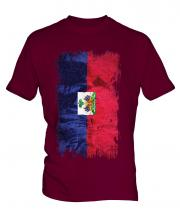 Haiti Grunge Flag Mens T-Shirt
