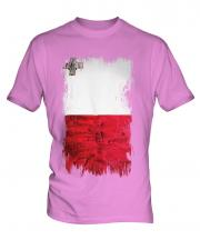 Malta Grunge Flag Mens T-Shirt