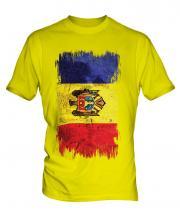 Moldova Grunge Flag Mens T-Shirt
