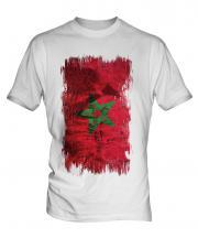 Morocco Grunge Flag Mens T-Shirt