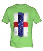 Netherlands Antilles Grunge Flag Mens T-Shirt