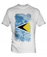 Saint Lucia Grunge Flag Mens T-Shirt