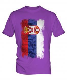 Serbia Grunge Flag Mens T-Shirt