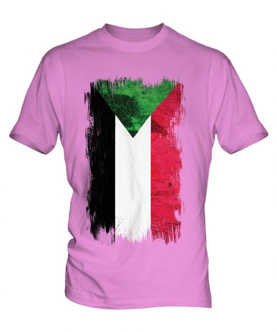 Sudan Grunge Flag Mens T-Shirt