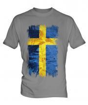 Sweden Grunge Flag Mens T-Shirt