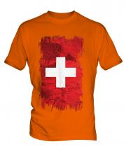 Switzerland Grunge Flag Mens T-Shirt