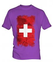 Switzerland Grunge Flag Mens T-Shirt