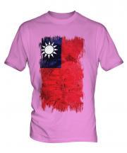 Taiwan Grunge Flag Mens T-Shirt