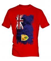 Turks And Caicos Islands Grunge Flag Mens T-Shirt