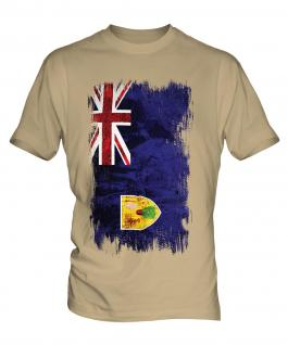 Turks And Caicos Islands Grunge Flag Mens T-Shirt