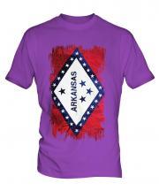 Arkansas State Grunge Flag Mens T-Shirt