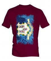 Connecticut State Grunge Flag Mens T-Shirt