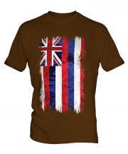 Hawaii State Grunge Flag Mens T-Shirt