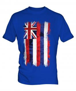 Hawaii State Grunge Flag Mens T-Shirt