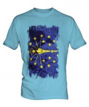Indiana State Grunge Flag Mens T-Shirt