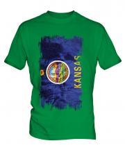 Kansas State Grunge Flag Mens T-Shirt