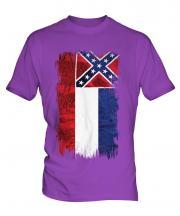 Mississippi State Grunge Flag Mens T-Shirt