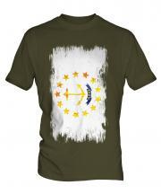 Rhode Island State Grunge Flag Mens T-Shirt