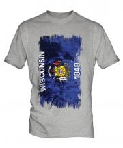 Wisconsin State Grunge Flag Mens T-Shirt