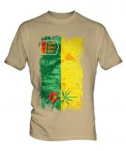 Saskatchewan Grunge Flag Mens T-Shirt