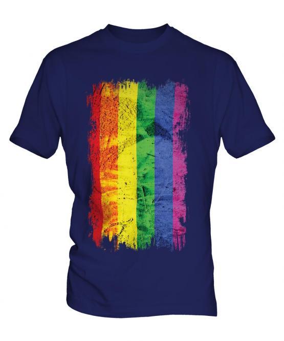 Gay Pride Grunge Flag Mens T-Shirt