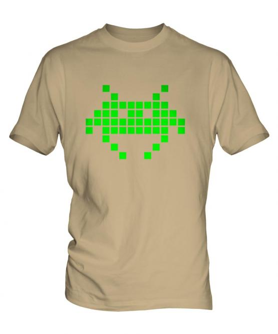 Neon Space Invader Mens T-Shirt