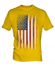 Stars And Stripes Faded Flag Mens T-Shirt