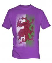 Wales Faded Flag Mens T-Shirt