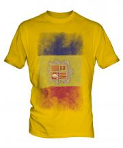 Andorra Faded Flag Mens T-Shirt