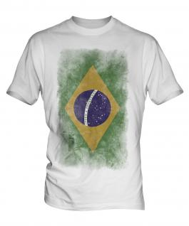Brazil Faded Flag Mens T-Shirt