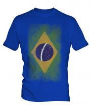 Brazil Faded Flag Mens T-Shirt