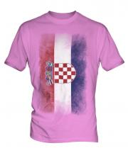 Croatia Faded Flag Mens T-Shirt