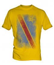 Democratic Rep. Of Congo Faded Flag Mens T-Shirt