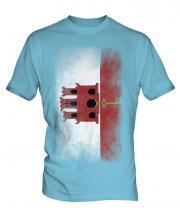 Gibraltar Faded Flag Mens T-Shirt
