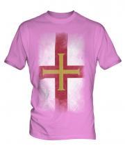 Guernsey Faded Flag Mens T-Shirt