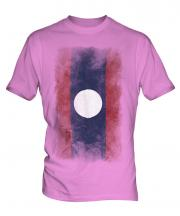 Laos Faded Flag Mens T-Shirt