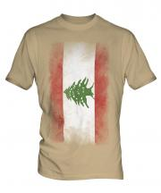 Lebanon Faded Flag Mens T-Shirt