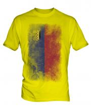 Liechtenstein Faded Flag Mens T-Shirt