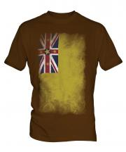 Niue Faded Flag Mens T-Shirt