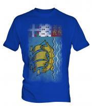 Saint Pierre And Miquelon Faded Flag Mens T-Shirt