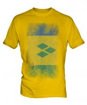 Saint Vincents And The Grenadines Faded Flag Mens T-Shirt