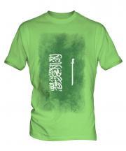 Saudi Arabia Faded Flag Mens T-Shirt