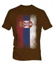 Serbia Faded Flag Mens T-Shirt