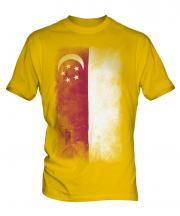 Singapore Faded Flag Mens T-Shirt