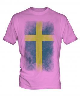 Sweden Faded Flag Mens T-Shirt