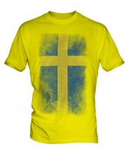 Sweden Faded Flag Mens T-Shirt