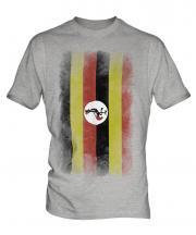 Uganda Faded Flag Mens T-Shirt